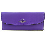 COACH 新款馬車LOGO素面皮革信封長夾(紫)