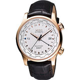 MIDO 美度 Multifort GMT世界時區機械錶-銀x玫瑰金框/42mm M0059293603100
