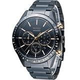 WIRED 日系潮流多功能三眼計時腕錶 VD53-KE30K 黑x玫瑰金 AY8004X1