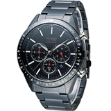 WIRED 日系潮流多功能三眼計時腕錶 VD53-KE30SD 黑 AY8005X1