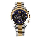 MICHAEL KORS 經典寶藍面三眼計時羅馬數字機械腕錶(銀金)