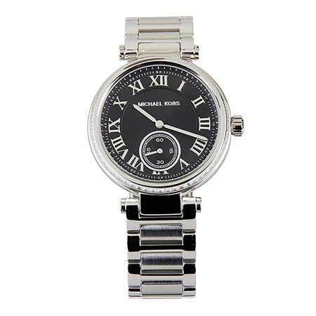 MICHAEL KORS 經典黑面銀錶帶羅馬數字腕錶(銀) -friDay購物 x GoHappy