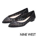 NINE WEST--真皮鏤空尖頭平底鞋--經典黑