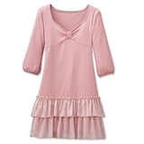 日本Portcros 現貨-蝴蝶結雪紡蛋糕裙七分袖洋裝(粉紅/M)