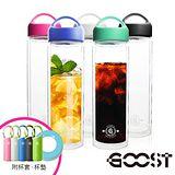 【美式-GOOST】經典雙層玻璃可替換雙蓋隨身瓶500ML(5色可選)