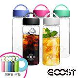【美式-GOOST】輕量單層光透沁涼玻璃瓶550ML(5色可選)