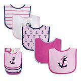 【HELLA 媽咪寶貝】美國 luvable friends 嬰幼兒口水巾(LF底層防水)圍兜5入組 粉色船錨(LF02340)