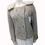 日本CIELO 現貨-毛領保暖針織短版外套(米色/M)