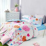美夢元素 精梳棉 雙人三件式枕套床包組-夏日甜心