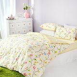 美夢元素 精梳棉 雙人加大三件式枕套床包組-明媚花香