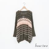 beartwo 波浪造型透膚針織罩衫-綠色