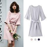 日日本ANNA LUNA 預購-ViVi雜誌 綁結喇叭袖連身洋裝(共三色/M-L)