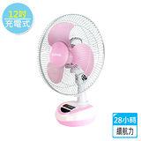 【KINYO】太陽能/充電式5段風速彩色電風扇12吋-粉嫩紅