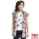 BOBSON 女款格紋長版短袖襯衫(紅22129-13)