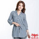 BOBSON 女款格紋長版五分袖襯衫(藍23131-53)