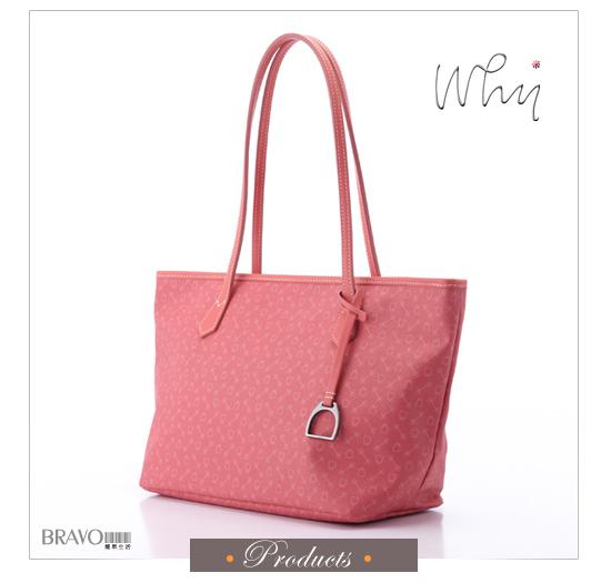 【WHY】經典LOGO紋款精緻亮彩拖特包 粉色