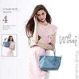 【WHY】 經典LOGO紋款精緻亮彩拖特包 寶藍