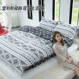 ALICE愛利斯【法蘭西◆黑白簡約】印地安風 台灣原創設計 天使絨薄被套床包組 雙人加大