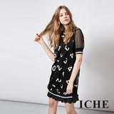 ICHE 衣哲 多層次拼接簍空荷葉擺數字造型洋裝