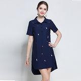 【KVOLL】藍色襯衫領刺繡印花休閒洋裝