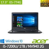 Acer 17.3吋FHD/i5-7200U雙核心/4G/1TB/940MX_2G獨顯/Win10 超值筆電(E5-774G-52PG)(極致黑) -送筆電清潔組、鍵盤保護膜