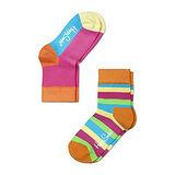 Happy Socks Kids俏皮彩色橫條拼接2入橘桃紅【23-26cm】
