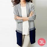 日本Portcros 預購-配色開襟長版針織外套(灰色/3L)