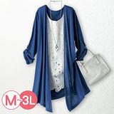 日本Portcros 預購-假兩件蕾絲拼接七分袖上衣(共兩色/M-3L)