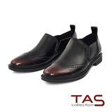 TAS 金屬擦色牛皮復古雕花牛津鞋-品味紅