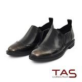 TAS 金屬擦色牛皮復古雕花牛津鞋-爵士灰
