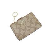 COACH 送原廠提袋-大CLOGO PVC鑰匙零錢包(咖啡)