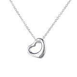 Tiffany&Co. Open Heart系列愛心墜飾AG925純銀鎖骨項鍊(銀)