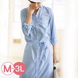 日本Portcros 預購-舒適混棉綁帶襯衫洋裝(共四色/M-3L)