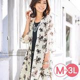日本Portcros 預購-雅緻印花雪紡開襟外套(共兩色/M-3L)