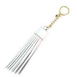 Michael Kors 皮革流蘇吊飾鑰匙圈(白)