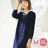 日本Portcros 現貨-折縫珠寶蝴蝶結袖毛呢洋裝(藏青系窗格/M)