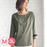 日本Portcros 現貨-蕾絲拼接設計七分袖上衣(茶綠色/LL)