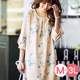日本Portcros 現貨-凸紋提花雪紡拼接袖洋裝(粉色系花/M)