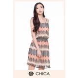 CHICA 民俗風鏡射圖騰洋裝(2色)-桔卡花
