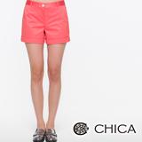 CHICA 反褶褲管休閒短褲-桔色