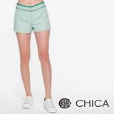 CHICA 波希米亞風流蘇短褲-綠格