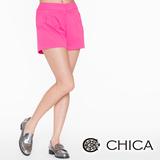 CHICA 小菱形壓紋短褲-桃色