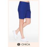 CHICA 單釦硬挺布料短褲(3色)-寶藍