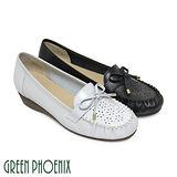 【GREEN PHOENIX】質感蝴蝶結雷射雕花全真皮小坡跟莫卡辛鞋