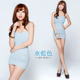 【BeautyFocus】涼感180D塑身細肩小可愛(可加襯墊)-水藍色2379
