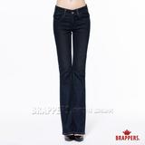 BRAPPERS 女款 新美腳Royal系列-女用中腰彈性鑲鑽小喇叭褲-深藍