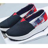 【Maya easy】增高搖擺鞋 帆布鞋 懶人套腳鞋 彩格子拼接純藍色款-cb124