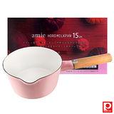 日本Pearl Life 木柄琺瑯牛奶鍋15cm-粉