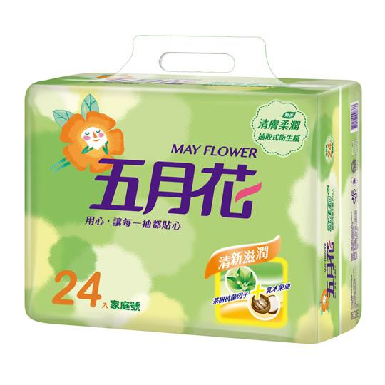 【五月花】清膚柔潤抽取式衛生紙(100抽x24包x3串)/箱