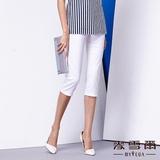 【麥雪爾】純白織紋滿版八分褲